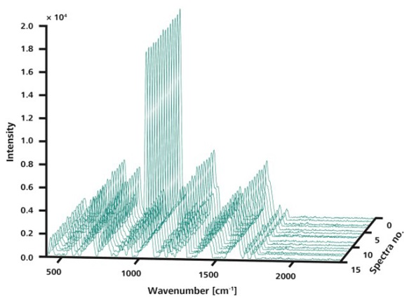 Like in Figure 3, the 15 spectra shown here were measured at random locations on a single sample. However, in this measurement, ORS was used sampling an area of 3mm diameter. The spectra are visibly congruent.
