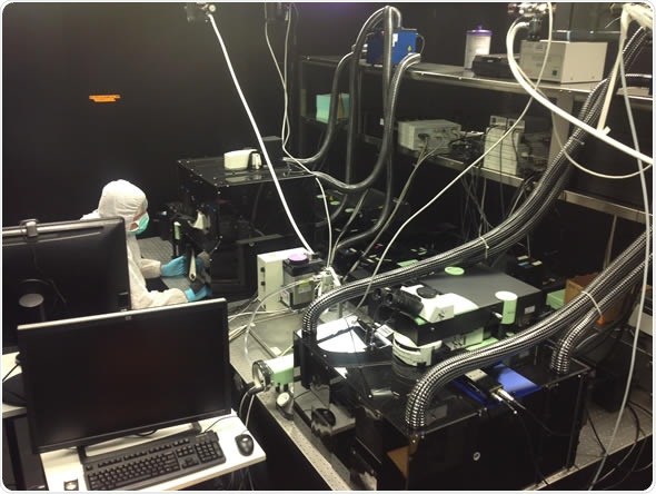 The Intravital Microscopy facility incorporating the LaVision BioTec's TriM Scope 2-photo microscope in the Iannacone Laboratory
