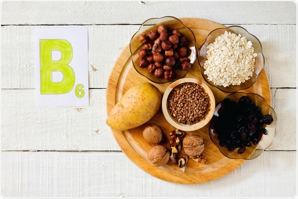 Foods containing vitamin B 6: hazelnuts, potatoes, oatmeal, raisin, buckwheat, walnuts - Image Copyright: Elena Hramova / Shutterstock
