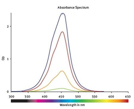 Absorbance spectra of samples containing hNE at different concentrations. The values are corrected for the blank.