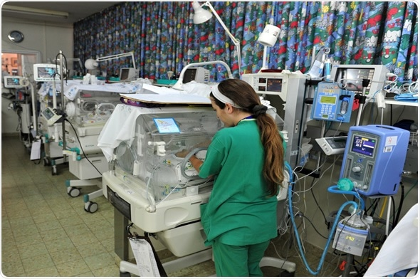 Medical staff in the premature infants department Barzilai hospital in Ashkelon, Israel. Image Copyright: ChameleonsEye / Shutterstock.com