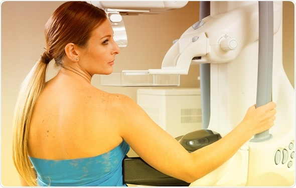 Female patient undergoing mammography test in hospital. Image Credit: GagliardiImages / Shutterstock