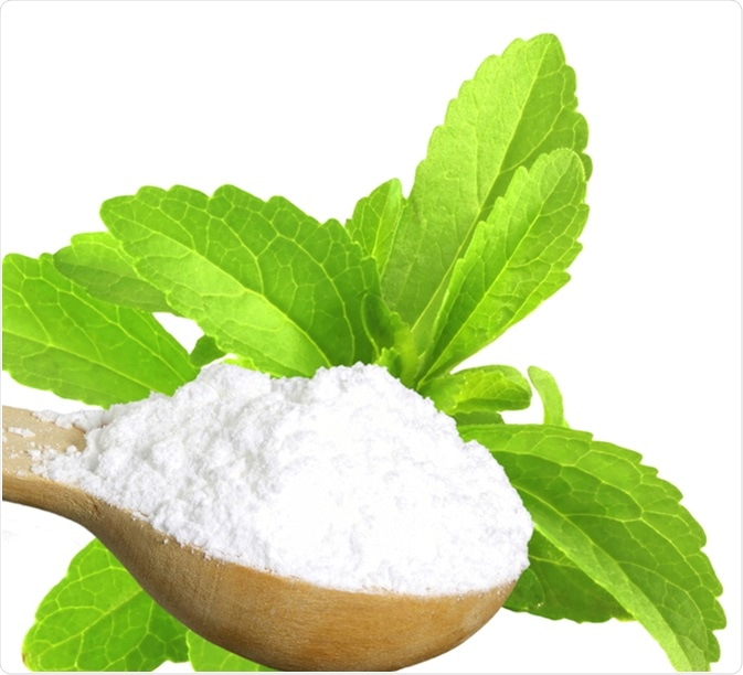 Sugar substitute Stevia plant and extract powder. Image Credit: govindji / Shutterstock