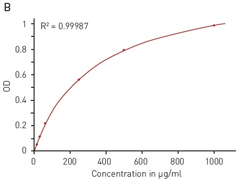 Modified Lowry protein quantification assay. A) Absorbance spectrum of Lowry reaction (without protein - blue, in presence of BSA - red) B) Protein standard curve of BSA.