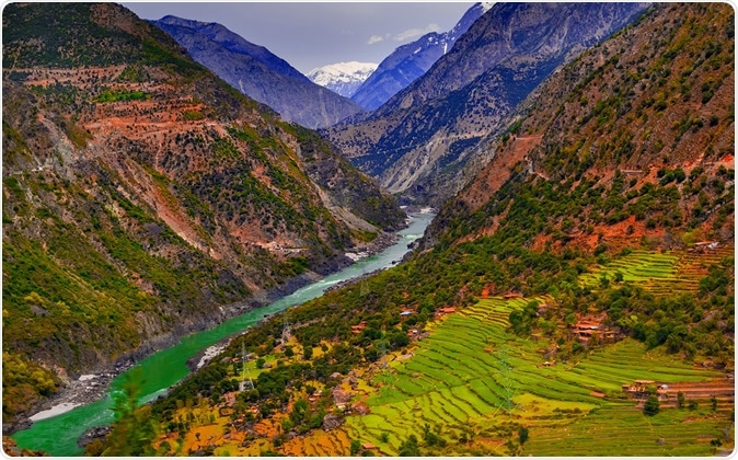 Aerial view to Indus river and valley, Karakoram, Pakistan. Image Credit: khlongwangchao / Shutterstock