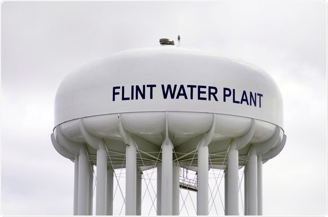 Water Tower At Flint Water Plant In Flint. Image Credit: Linda Parton / Shutterstock
