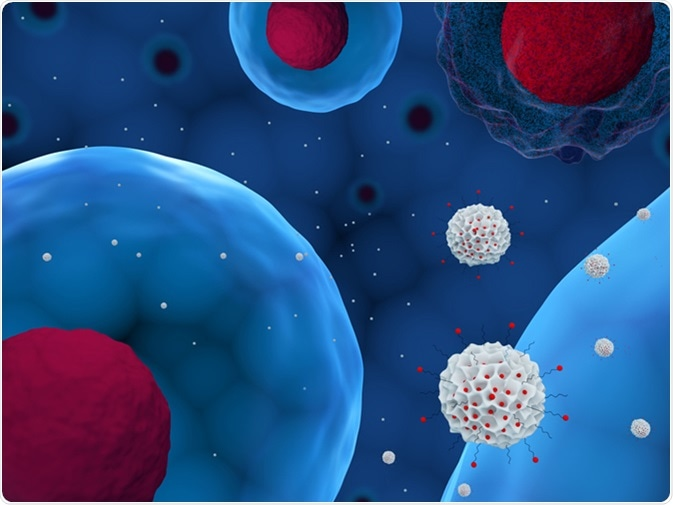 3d illustration of mesoporous silica nanoparticles delivering drug to cells. Image Credit: Meletios Verras / Shutterstock