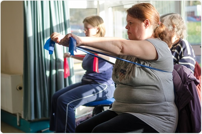 Occupational therapy instructor provides training exercises for multiple sclerosis patients at health center. Image Credit: xian-photos / Shutterstock