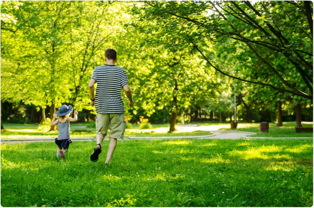 Greenspace in neighborhood with dad and daughter -By Biserka Stojanovic