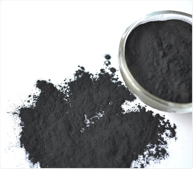 Activated charcoal in a glass bowl and sprinkled around. Image Credit: Akvals / Shutterstock
