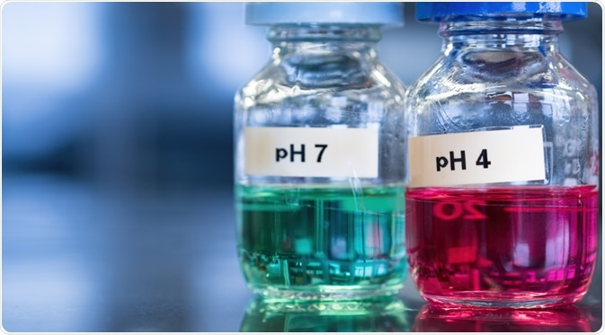 Two glass bottles in laboratory, one containing an acidic solution of pH 4 and the other containing a basic solution of pH 7.