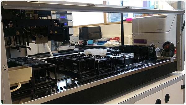 CLARIOstar integrated in an automated biosynthetic production pipeline (Hamilton workstation), aimed at the production of fine and speciality chemicals from bacterial hosts at SYNBIOCHEM.