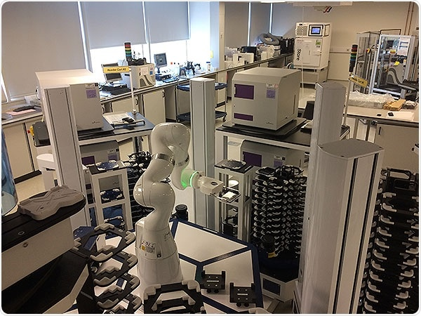 4 PHERAstar FSX plate readers integrated in a HighRes Biosolutions modular robotic workstation at AstraZeneca UK