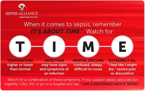 It's About TIME campaign meaning from the Sepsis Alliance