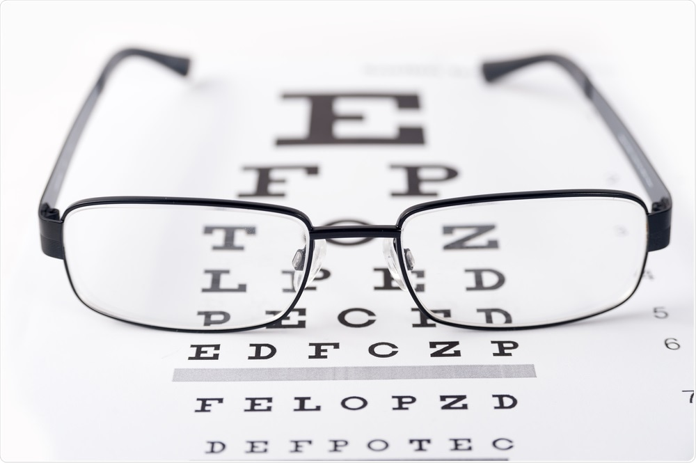 Glasses on top of reading chart as part of eye test