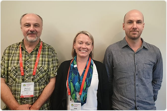(L-R) Professor Andreas Suhrbier, Dr Jody Hobson-Peters and Dr Daniel Watterson, who, with team leader Professor Roy Hall (not pictured), made this incredible discovery.