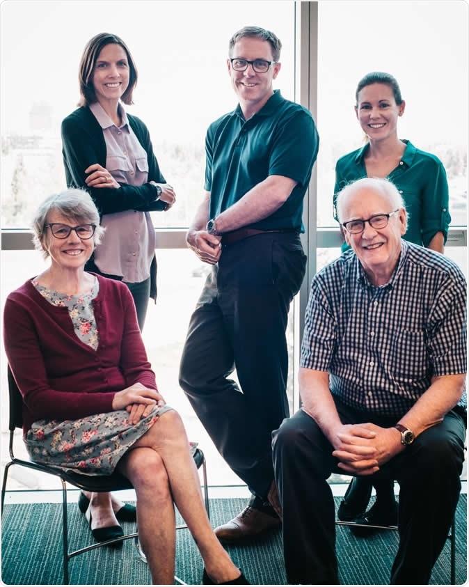 The vitamin D research team: Back row (L to R) Emma Billington, Steven Boyd, Lauren Burt. Front row (L to R) Sarah Rose and David Hanley. Photo Credit: Nedaa Photography