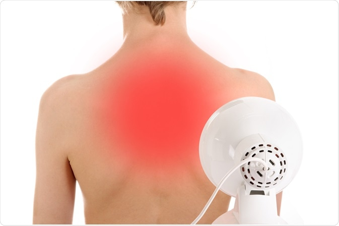 Woman undergoing infrared therapy on her back to relieve chronic pain - by Marina Lohrbach