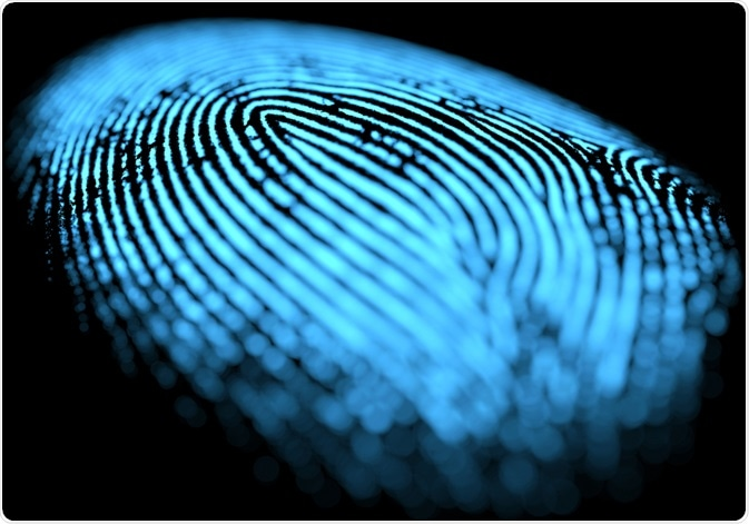 Fingerprint on black background - illustration by ktsdesign