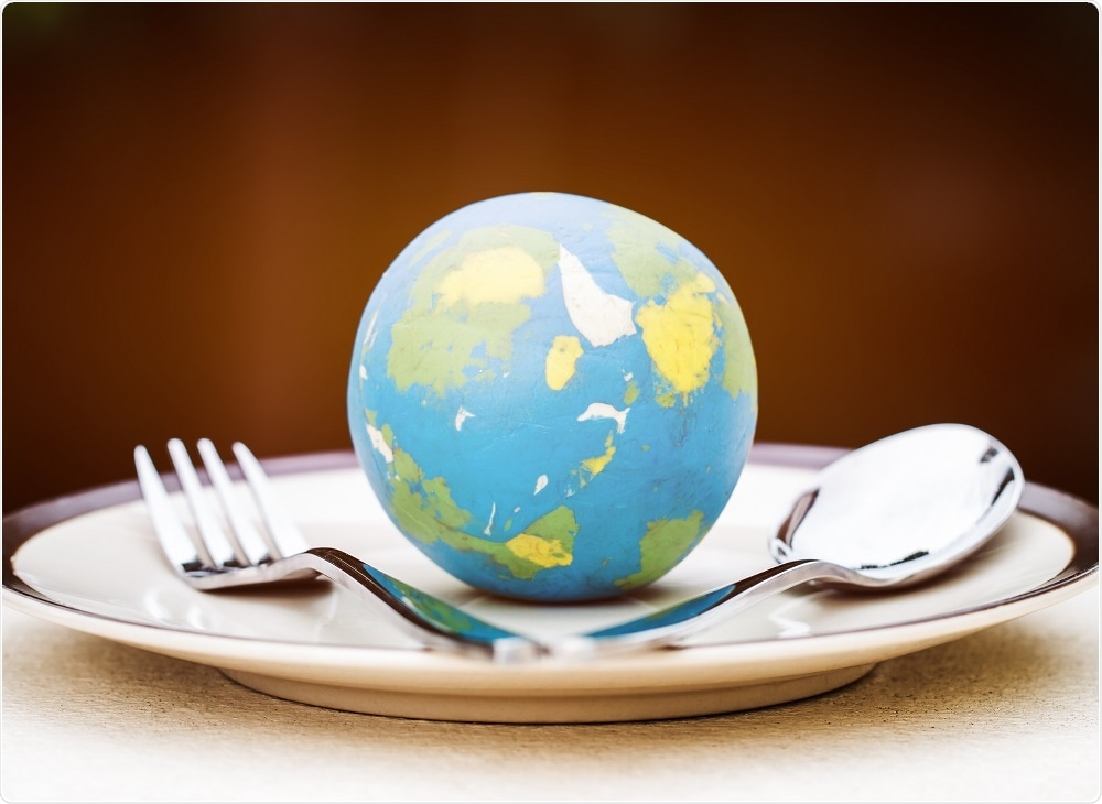 Illustration of planet friendly eating - globe on plate