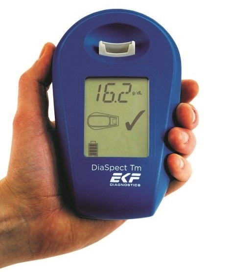 EKF's hand-held analyzer enables reagent-free hemoglobin analysis within two seconds.