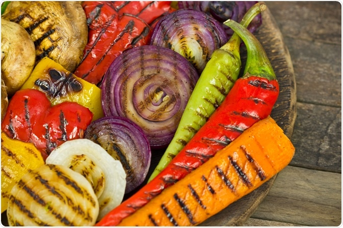 Grilled vegetables that have undergone the Maillard reaction