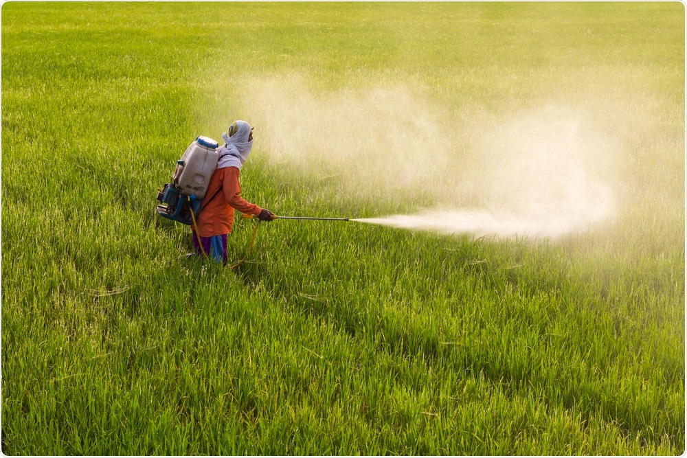 Farmer in field spraying herbicide