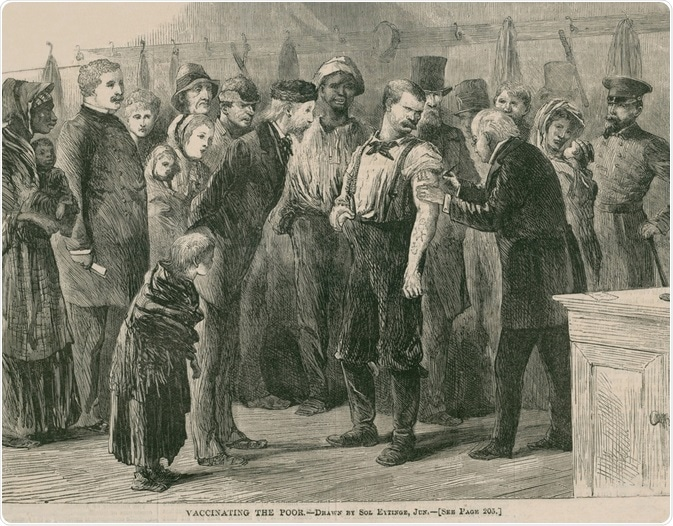 Vaccinating the poor of New York City against smallpox in 1872. In 1863, mass production of smallpox vaccine was developed, allowing for broad immunization of North American and European populations.