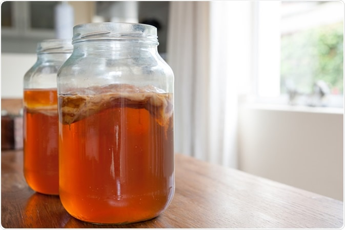 Kombucha tea, the brew is ready to be placed in storage with the bacteria culture in place to ferment the brew. Image Credit: Daniel S Edwards / Shutterstock