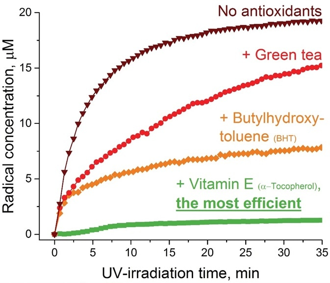 Effectiveness of antioxidants (green tea, BHT, and vitamin E) on skin care product aging upon UV-irradiation evaluated by EPR method.
