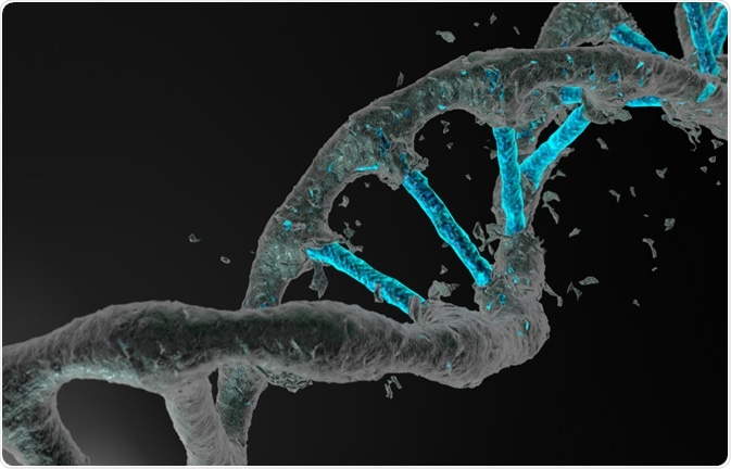 Abstract image of DNA being edited.