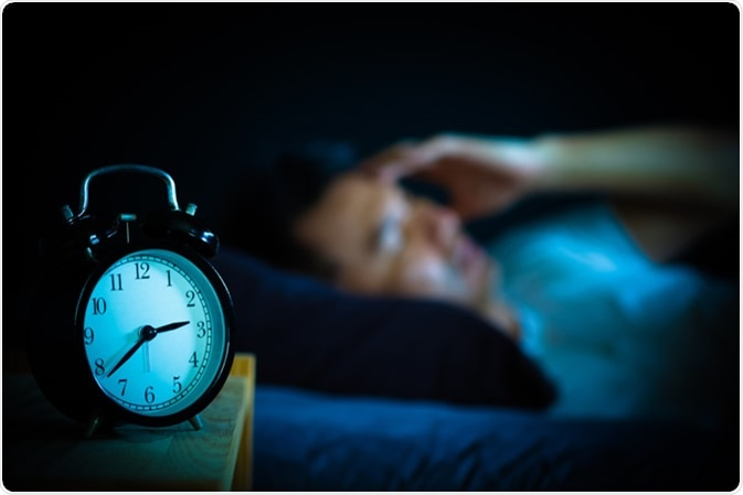 Man in bed suffering insomnia. Image Credit: Shutterstock
