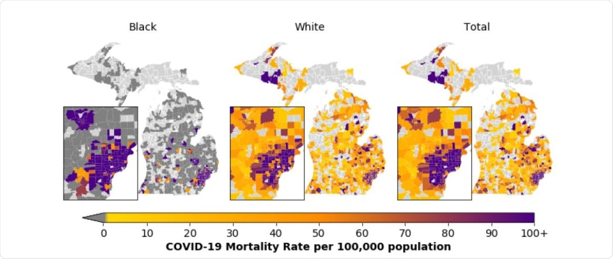 COVID-19 Mortality rates per 100,000 population among Black and White Michigan residents and Michigan residents overall by ZIP Code Tabulation Area. Mortality rate per 100,000 population ranges from 0 (yellow) to 100+ (purple). The highest mortality rate per 100,000 population is 5263. Dark grey regions indicate ZIP code tabulation areas where no COVID-19 deaths for a particular race occurred and light grey regions indicate ZIP code tabulation areas where no COVID-19 related deaths took place. These mortality rates are based on 6027 COVID-19 deaths among Michigan residents spread across the state between March 16 and October 26, 2020, of whom 5809 individuals are either White or Black. Total includes individuals of all races. The inset map represents the Detroit Metropolitan Area and Flint.