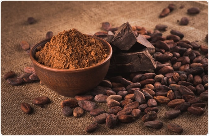 Raw cocoa beans, clay bowl with cocoa powder, chocolate on sacking. Image Credit: iprachenko / Shutterstock