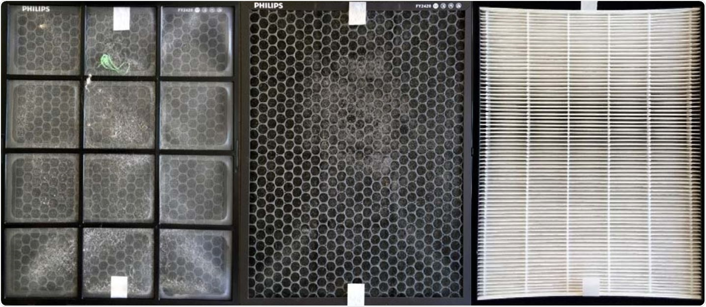Pre-filter (left), active charcoal filter (middle) after one week of operation in the classroom. Coarse dust, hairs and fluff can be discerned. No deposits of particles could be discerned by eye on the HEPA-Filter (right). Sections that appear darker are due to the illumination.