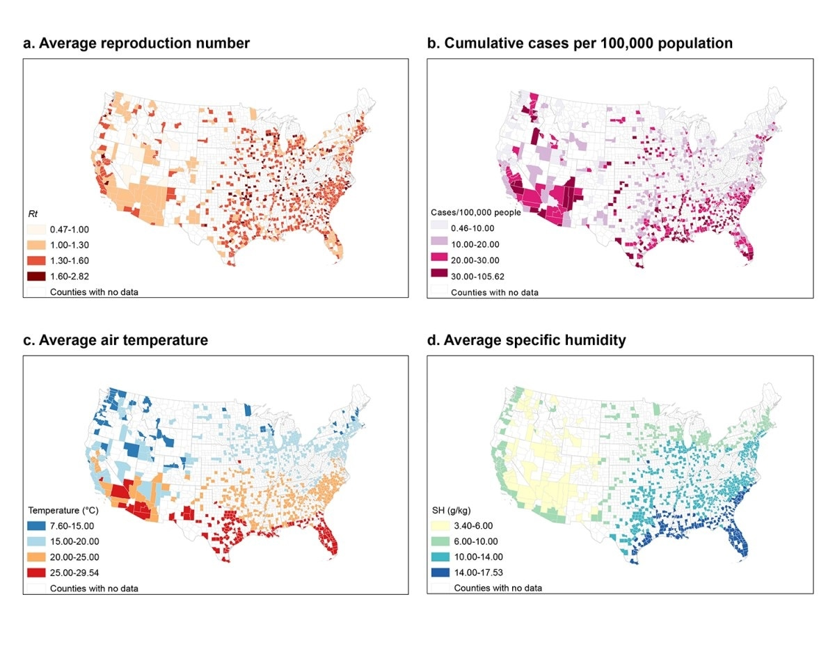 Mapa de distribución del número de reproducción, casos acumulados, temperatura del aire 85 y humedad específica en las comarcas de estudio.
