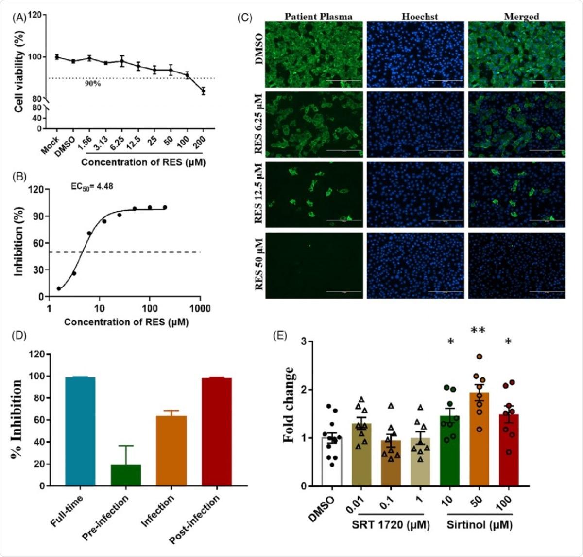 Effetti del resveratrolo sulla replicazione di SARS-CoV-2 in colture cellulari Vero. (a) Curva dose-reattiva di RES sulla sopravvivenza cellulare per testare la sua potenziale citotossicità, la concentrazione di DMSO era dello 0,05%. (b) L'EC50 della RES su SARS-CoV-2 in vitro. (c) Le immagini rappresentative del test di immunofluorescenza. Dopo 48 ore di incubazione con virus e RES, le cellule sono state fissate e quindi sondate con plasma del paziente COVID-19 come anticorpo primario, successivamente utilizzando IgG antiumante di capra marcato con Alexa 488 (1: 2.000; Thermo) come anticorpo secondario. I nuclei sono stati colorati con Hoechst 33342. Barra della scala = 200 µm. (d) Diversi regimi di trattamento RES sul tasso inibitorio della replicazione di SARS-CoV-2. Tempo pieno: cellule Vero pretrattate con 50 µM RES per 2 ore, poi RES e virus con una molteplicità di infezione di 0,01 (il titolo del virus di questo studio era 1. 08 × 105 TCID50 / ml) sono stati aggiunti simultaneamente nelle cellule per 1 ora. Successivamente, la miscela di virus-RES è stata rimossa e le cellule sono state coltivate con un terreno contenente 50 µMRES per 48 ore di trattamento pre-infezione: 50 µM di RES sono stati aggiunti alle cellule solo per 2 ore, rimosso e aggiunto virus per 1 ora, quindi rimosso il virus e continuamente coltivato con terreno fresco per 48 ore. Esperimento di co-infezione: RES e virus sono stati aggiunti simultaneamente nelle cellule per 1 ora, lavati e sostituiti con terreno fresco per 48 ore. Trattamento post-infezione: il virus è stato aggiunto per consentire l'attaccamento per 1 ora, lavato e sostituito con terreno fresco contenente 50 µM RES per 48 ore. (e) Effetti dell'antagonista e attivatore di SIRT1 sul tasso di inibizione della replicazione di SARS-CoV-2. Dopo l'infezione da virus, sono stati aggiunti farmaci con diverse concentrazioni nel terreno di coltura per 48 ore, cambio di piega: