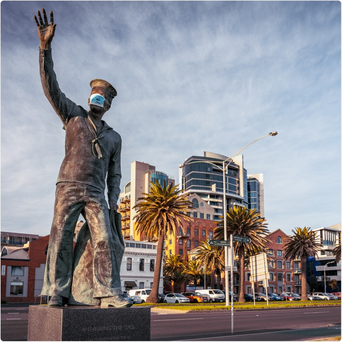 Melbourne, Australia - Jul 24, 2020: Statue in Port Melbourne with face mask on put on by pranksters, Melbourne VIC, Australia. Image Credit: Alex Cimbal / Shutterstock