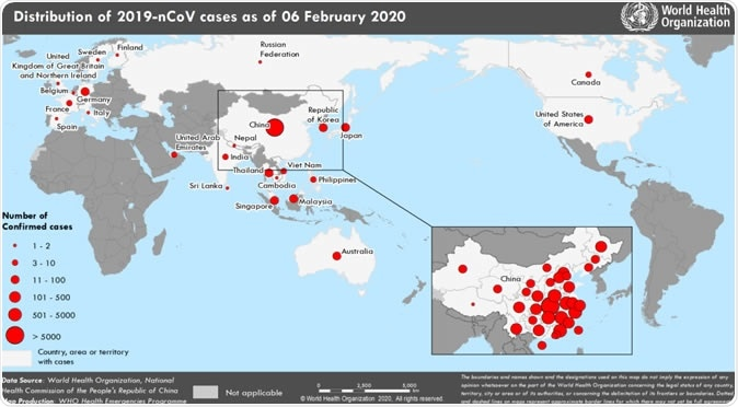 Countries, territories or areas with reported confirmed cases of 2019-nCoV, 6 February 2020. Credit: WHO