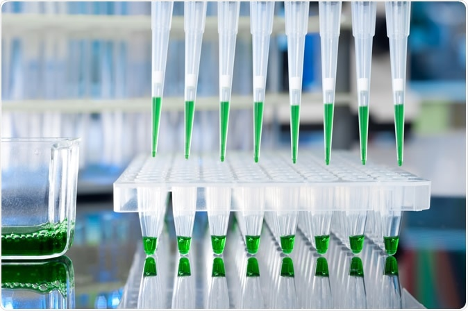 Closeup on automatic multipipette tips over 96 well plate. Image Credit: Anyaivanova / Shutterstock