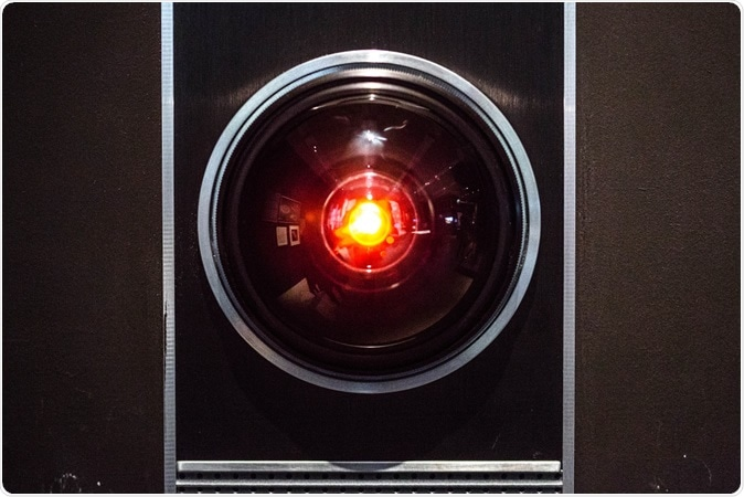 The original prop of the HAL 9000 from the Stanley Kubrick adaptation of 2001 A Space Odyssey. It is on display along with other pieces at the Design Museum in Kensington. Image Credit: Hethers / Shutterstock