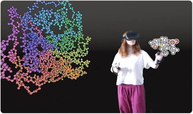 User interacting with a protein in VR. Image Credit: University of Bristol