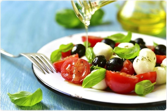 The Mediterranean diet provides large amounts of vitamins, including vitamins A, B2, B6 and B12, C, D, and E. Image Credit: Liliya Kandrashevich / Shutterstock