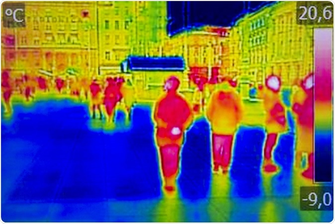 Infrared Thermal image people walking the city streets. Image Credit: Ivan Smuk / Shutterstock