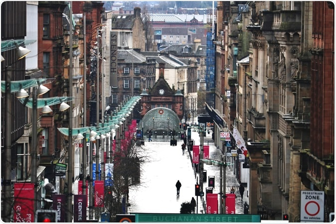 Glasgow / Scotland - April 04 2020: Glasgow City Centre Buchanan Street Empty During Coronavirus Covid 19 Lockdown. Image Credit: Mo and Paul / Shutterstock