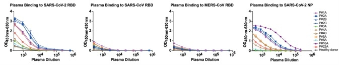 Analyses of plasma responses specific to SARS-CoV-2.