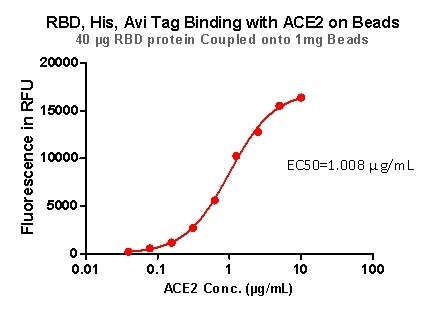 RBD,His,Avi Tag Binding with ACE2 on beads.
