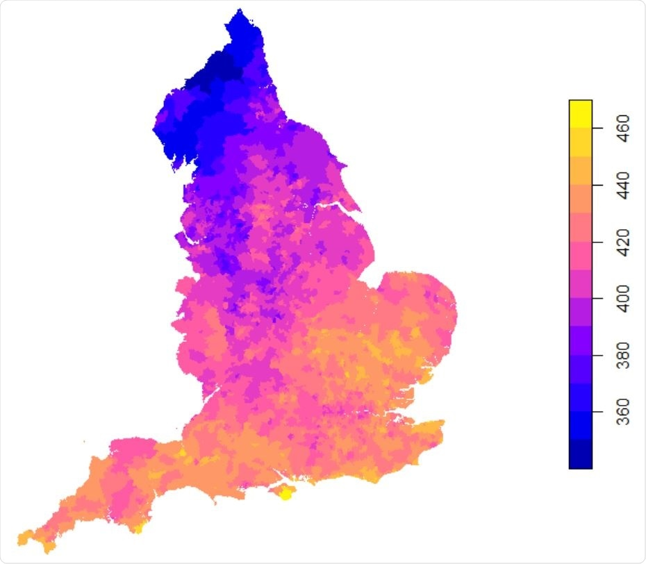 Daily mean UVA (KJ/m2 ) in England between Jan 1st -Apr 17th 2020