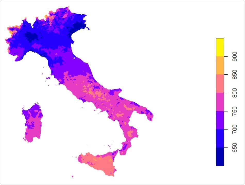 Daily mean UVA (KJ/m2 ) in the Italy between Jan 1st - Apr 30th 2020