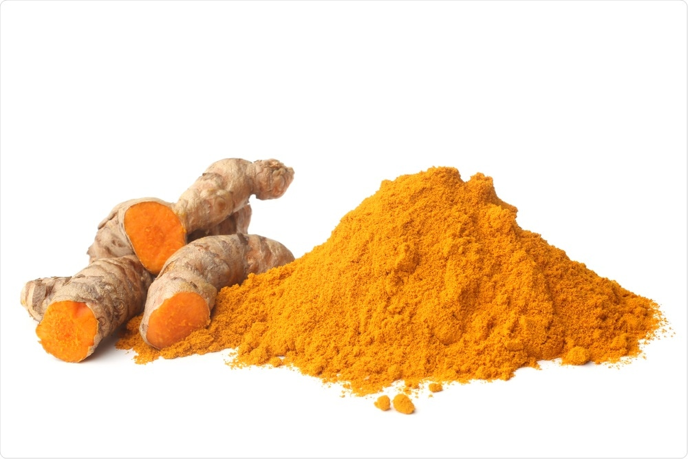 Curcumin is a bright yellow chemical produced by Curcuma longa plants. It is the principal curcuminoid of turmeric (Curcuma longa), a member of the ginger family, Zingiberaceae. It is sold as an herbal supplement, cosmetics ingredient, food flavoring, and food coloring.. Image Credit: Olga Popova